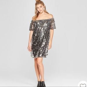 Sparkly silver sequined party dress. Sz XL